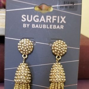 Sugarfix Gold beaded tassel earrings